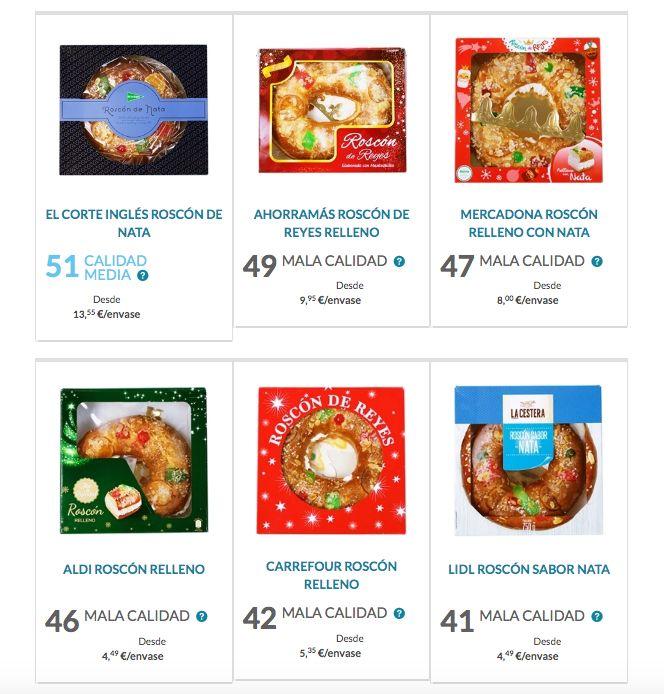 Valoración de los roscones de Reyes por la OCU.