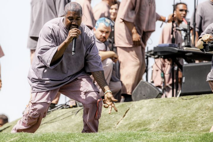 Kanye West performs Sunday Service during the 2019 Coachella Valley Music And Arts Festival on April 21, 2019, in Indio, Cali