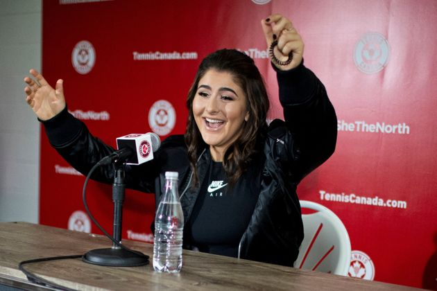 Bianca Andreescu speaks with the news media about her win at the U.S.