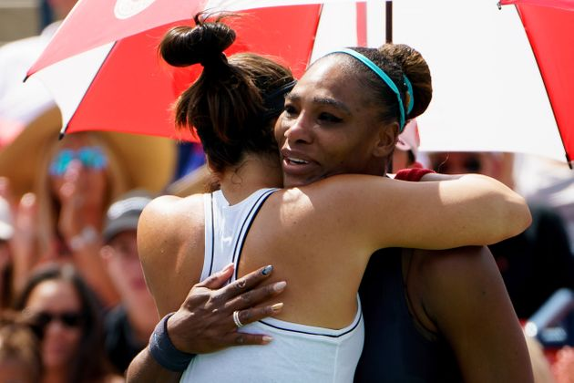 Bianca Andreescu hugs Serena Williams during the Rogers Cup tennis tournament final on August 11,