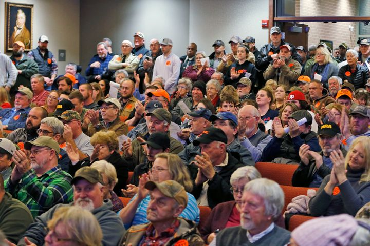 Spectators applaud as the Buckingham County Board of Supervisors unanimously voted to pass a Second Amendment Sanctuary City