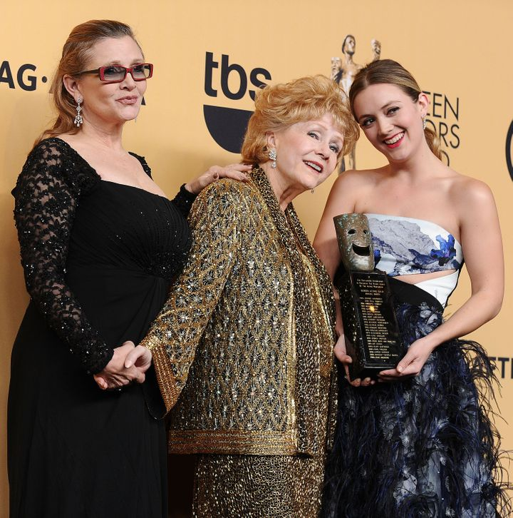 Carrie Fisher, Debbie Reynolds and Billie Lourd pose at the 21st annual Screen Actors Guild Awards on Jan. 25, 2015, in Los Angeles.