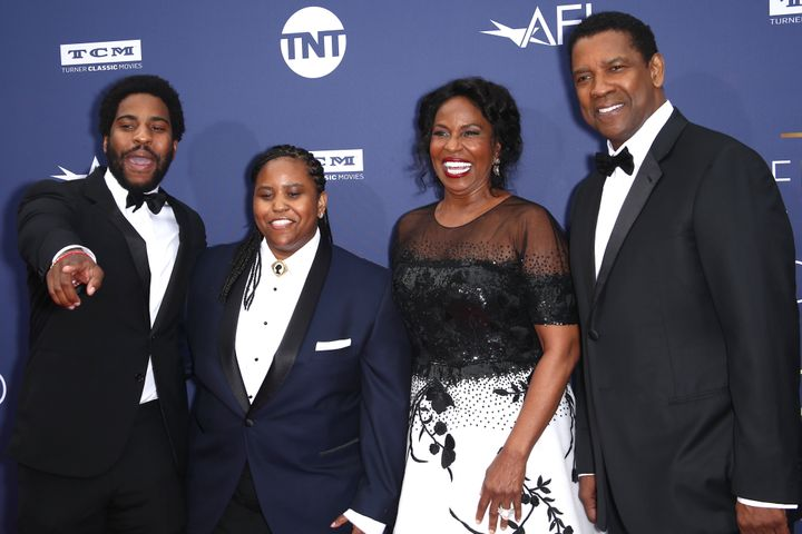 Malcolm Washington, Katia Washington, Pauletta Washington, and Denzel Washington attend the American Film Institute's 47th Life Achievement Award Gala Tribute To Denzel Washington at Dolby Theatre on June 6, 2019 in Hollywood, California.
