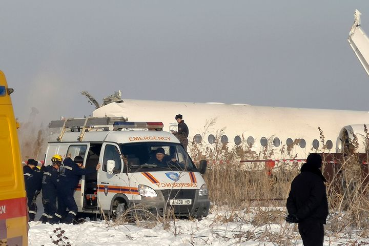 First responders arrived at the scene of a plane crash near Almaty International Airport, outside Almaty, Kazakhstan on Dec.