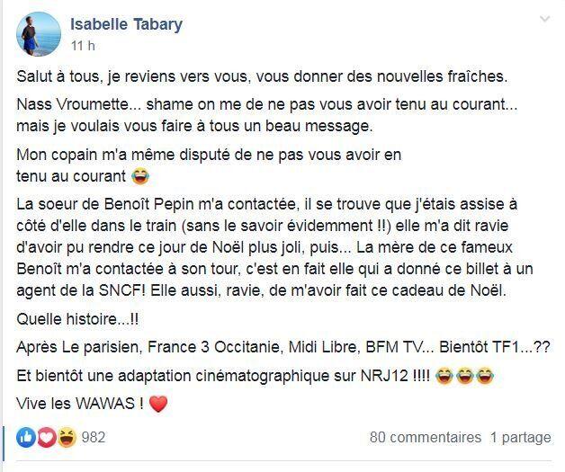 Isabelle Tabary voulait remercier son bienfaiteur