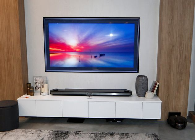 The LG SIGNATURE OLED 4K HDR Smart TV at the LG Electronics booth during 2018 International CES in Las