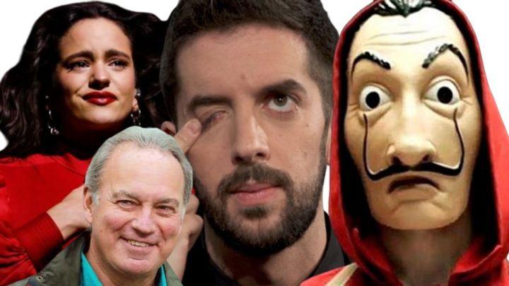Rosalía, Bertín Osborne, David Broncano y una imagen de 'La casa de papel'.