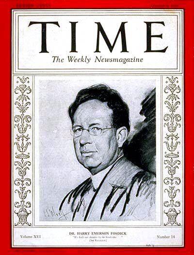 .O Harry Emerson Fosdick στο εξώφυλλο του περιοδικού Time The Weekly Magazine στις 06 Οκτωβρίου 1930