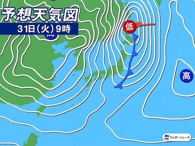 予想天気図 31日(火)9時