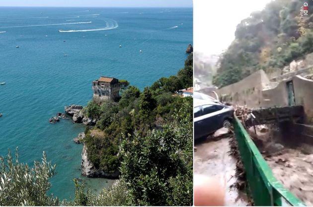 La Costiera Amalfitana vista da Vietri sul Mare - i danni del maltempo in Costiera (21 dicembre