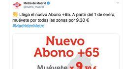Críticas a Metro de Madrid por lo que ha hecho al anunciar el abono para mayores de 65 años: salta a la