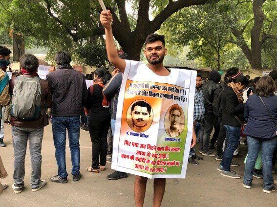 Deepanshu Sahu, a lawyer from Jabalpur, wearing only a vinyl sheet to protest the Citizenship Amendment Act in New Delhi on 19 December.