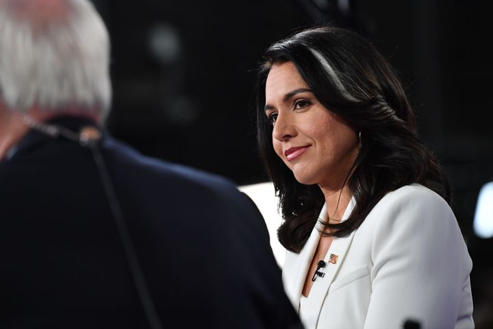 "Democratic presidential hopeful Tulsi Gabbard was the only member of the House to vote ""present"" on the two artic"