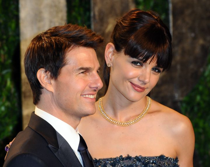 Tom Cruise and Katie Holmes at the Vanity Fair Oscar Party in February 2012. They divorced by the end of the year.