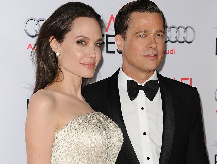 "Angelina Jolie and Brad Pitt at the premiere of ""By the Sea"" in 2015."