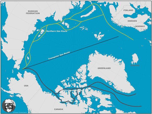 まっすぐ北極海を通過する「北極海航路」は環境への影響が懸念される
