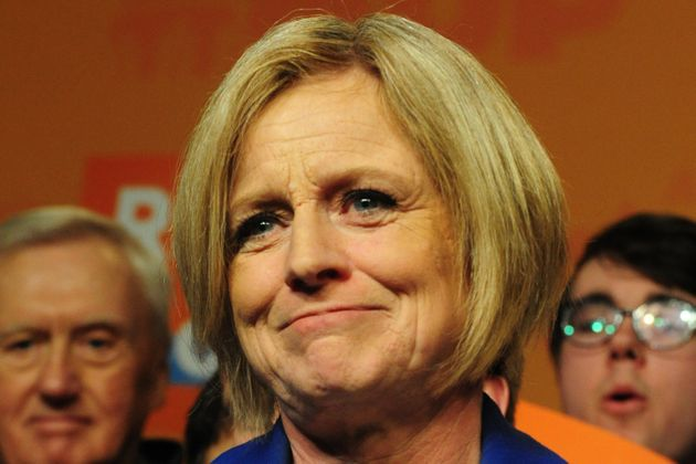 Rachel Notley reacts to her loss at her election night party in Edmonton on Apr. 16,