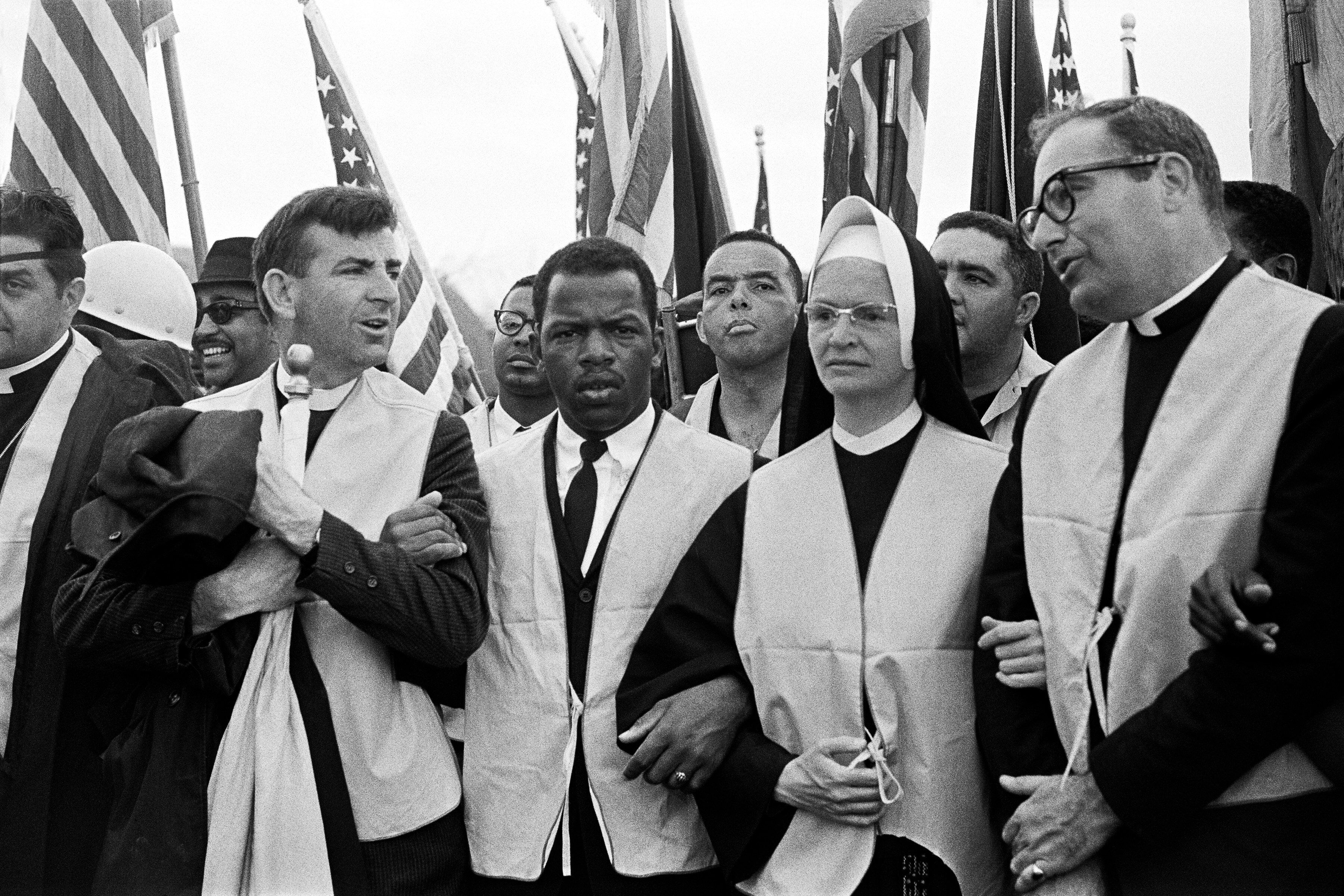 At the head of the march from Selma to Montgomery on March 25, 1965, nuns, priests and civil rights leaders: The Rev. Arthur Matott (from left), John Lewis (head of the Student Nonviolent Coordinating Committee), Andrew Young, Sister Mary Leoline and Theodore Gill.