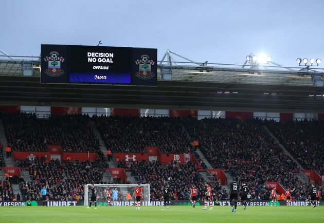 SOUTHAMPTON, ENGLAND - DECEMBER 28: General view inside the stadium as the big screen shows that a VAR...