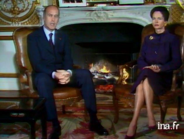 Valéry Giscard d'Estaing et sa femme Anne-Aymone prononcent ensemble les vœux pour l'année