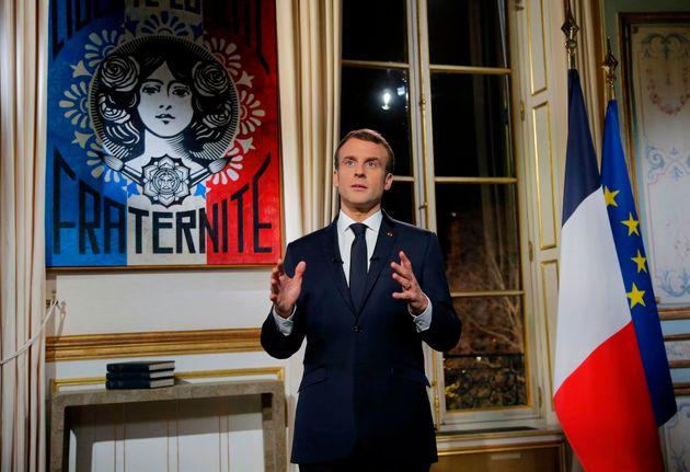 Emmanuel Macron lors de ses vœux le 31 décembre