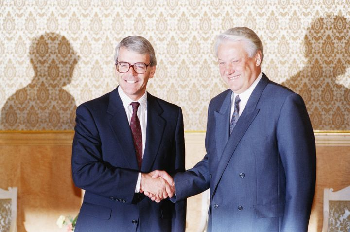 <strong>Russian Republic president Boris Yeltsin, right, and British prime minister John Major pose for photographers during a meeting in 1991.</strong>