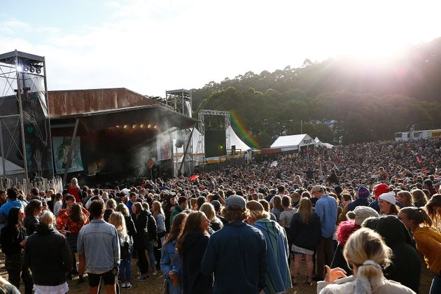 LORNE, AUSTRALIA - DECEMBER 31: A general view of the crowd at the Valley Stage at Falls Festival on...