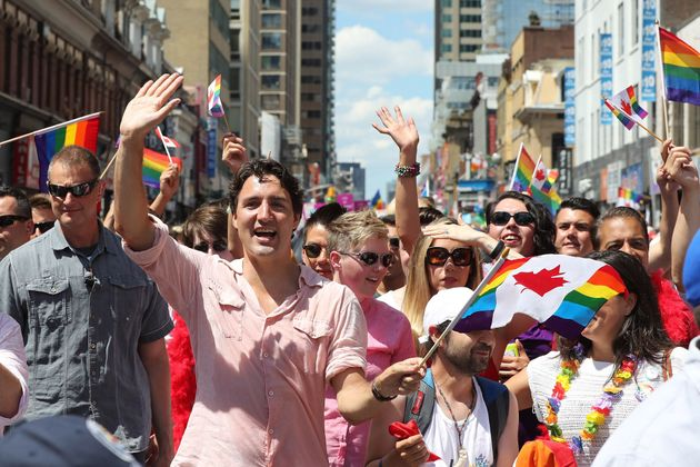 Prime Minister Justin Trudeau during the 2016 Toronto Pride parade along Yonge Street in Toronto.