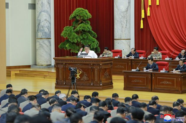 North Korean leader Kim Jong Un speaks during the 5th Plenary Meeting of the 7th Central Committee of...