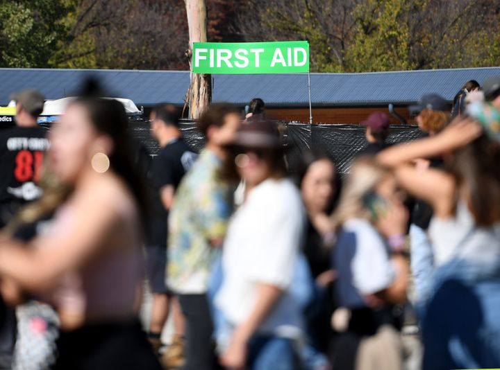 CANBERRA, AUSTRALIA - APRIL 28: Festival goers near the first aid station and pill testing area as they attend Groovin The Moo 2019 on April 28, 2019 in Canberra, Australia. (Photo by Tracey Nearmy/Getty Images)