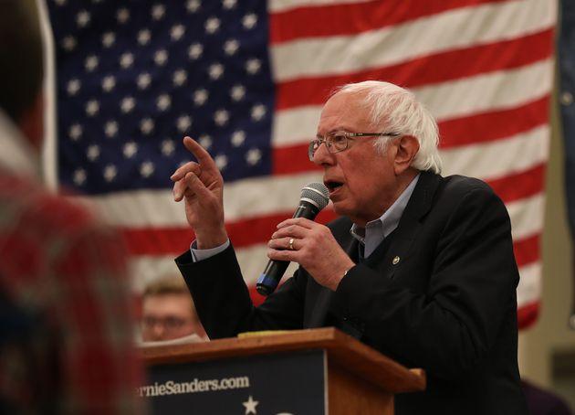 WINTERSET, IOWA - DECEMBER 30: Democratic presidential candidate Sen. Bernie Sanders (D-VT) speaks during...