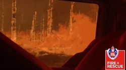 Australian Firefighters Capture Video Of Wildfire Engulfing Their