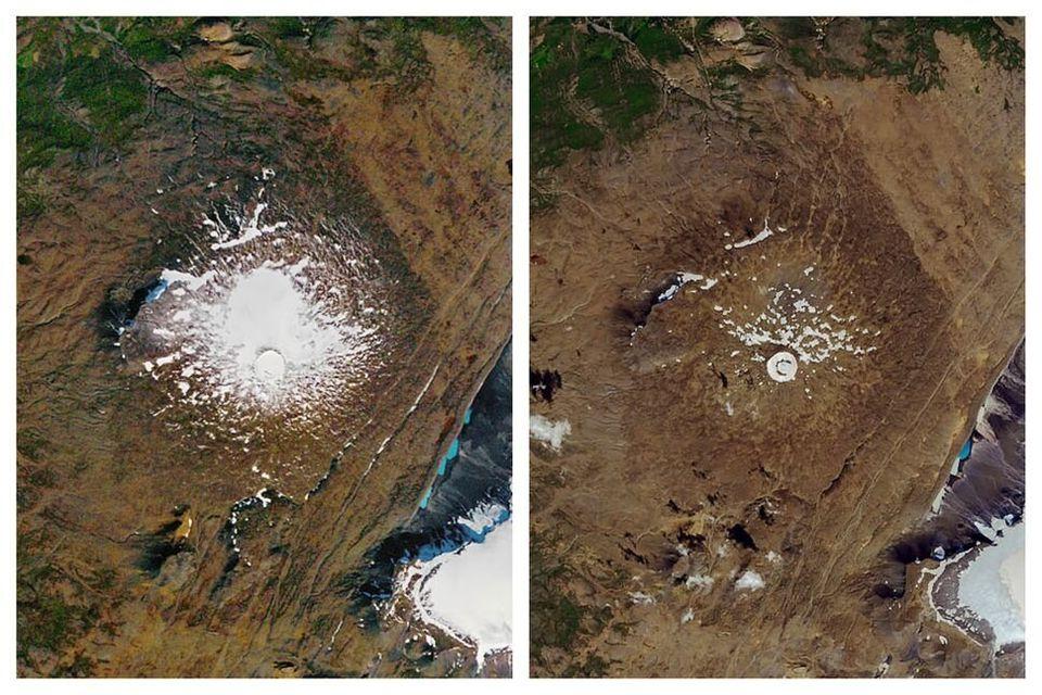 Fotografías de la NASA que muestran la desaparición del glaciar Okjokull (Islandia) entre...