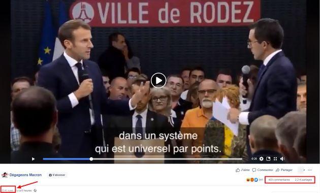 Capture d'écran de la publication de la vidéo sur la page