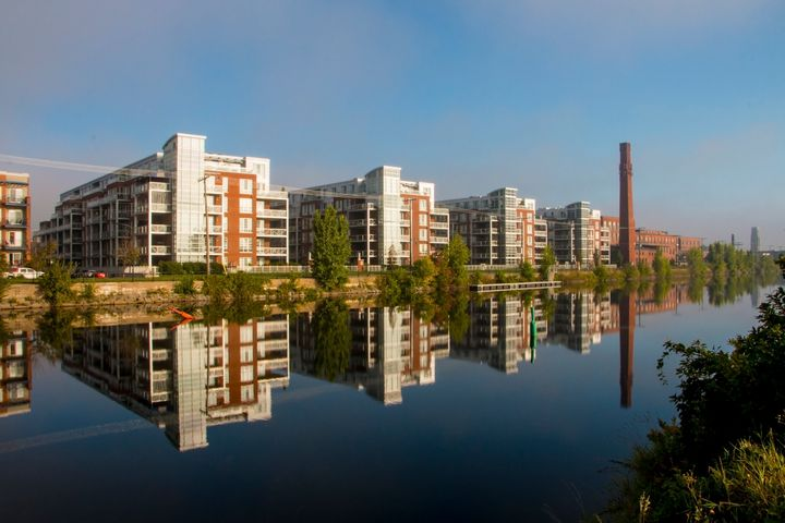 Condo buildings along the Lachine Canal in Montreal's Saint-Henri neighbourhood. The city's unexpectedly red-hot housing market has been one of the year's big real estate stories.