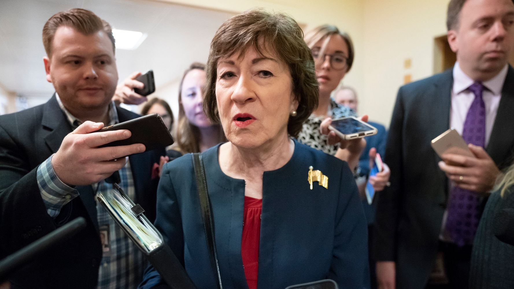 Westlake Legal Group 5e0b7f8425000079bad3181f GOP Sen. Susan Collins Sides With Mitch McConnell On Impeachment Trial