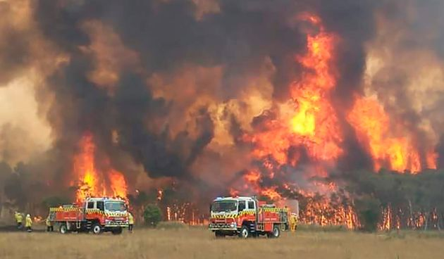 Firefighters try to protect homes around Charmhaven, New South Wales, as wildfires burn across Australia's...