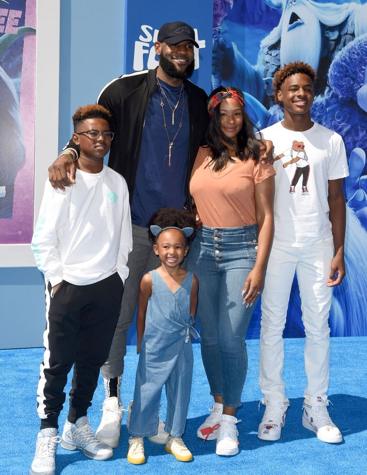 James, Savannah James, LeBron James Jr., Bryce Maximus James and Zhuri James attend the premiere of Warner Bros. Pictures' 'S