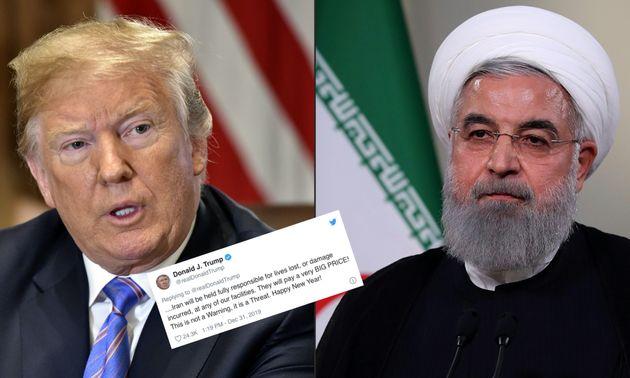 Donald Trump, ici en juillet 2018, a menacé le régime d'Hassan Rohani, ici en mai 2018, après la prise...