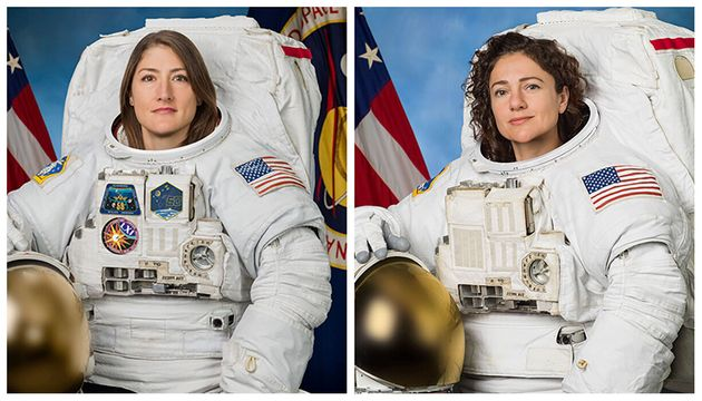 Astronauts Christina Koch (L) and Jessica Meir pose for their official NASA portraits in undated photos....