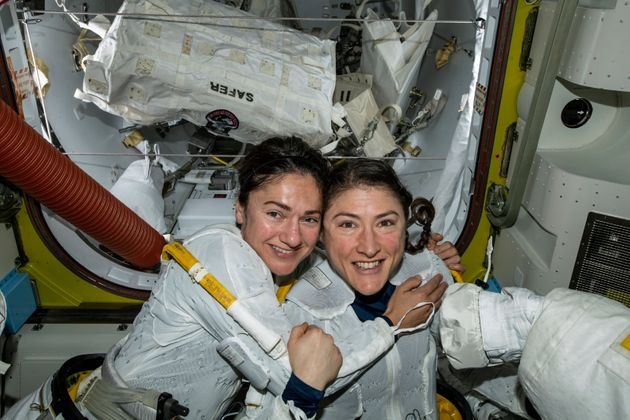 In this photo released by NASA on Friday, Oct. 18, 2019, U.S. astronauts Jessica Meir, left, and Christina...