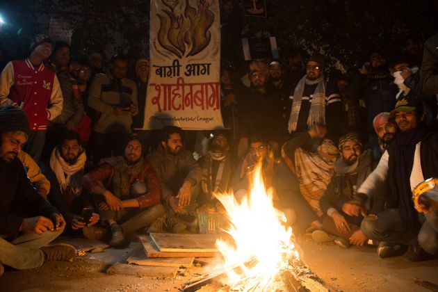 People take part in the sit-in protest against the Citizenship Amendment Act 2019 in Shaheen Bagh, Delhi...