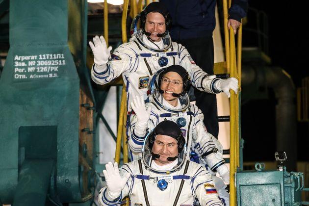 KYZYLORDA REGION, KAZAKHSTAN - MARCH 14, 2019: Roscosmos cosmonaut Alexei Ovchinin (front), NASA astronauts...