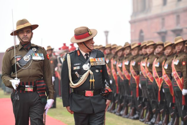 General Bipin Rawat inspects the Guard of Honour, at South Block lawns, on December 31, 2019 in New