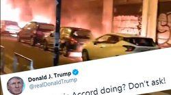 Sur fond de voitures brûlées, Trump se moque de Macron pour le Nouvel