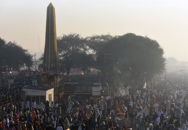 People visit Jay Stambh to pay tribute at Koregaon Bhima on occasion of 201st anniversary of the Koregaon...