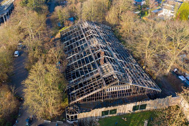 La maison des singes incendiée du zoo de Krefeld en Allemagne, le 1er janvier