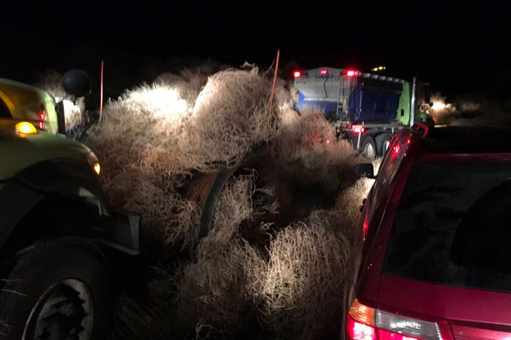In this image taken Tuesday evening, Dec. 31, 2019, and provided by the Washington State Patrol, Washington State Department