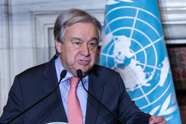 ROME, ITALY - 2019/12/18: Secretary General of the United Nations, Antonio Guterres speaks during the...