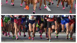 箱根駅伝で選手が履いてるピンクのナイキ。厚底がランナー靴のトレンドだ。